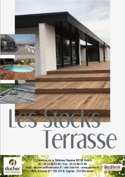Flyer de nos stocks Terrasse/Bardage : les produits disponibles chez Dacher